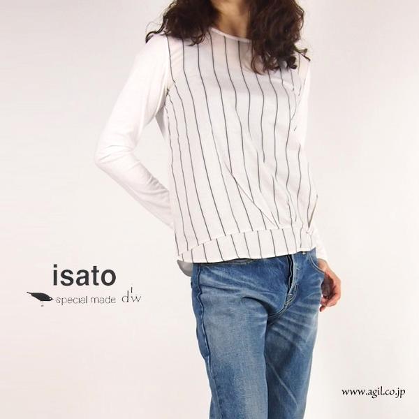 isato design works (イサトデザインワークス) ストライプ ラウンドネック プルオーバーカットソー|レディース