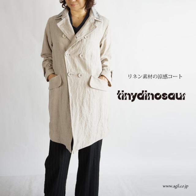 tiny dinosaur(タイニーダイナソー) リネン(麻)素材ハーフコート||チェスターコート|ベージュ|レディース