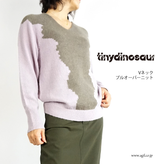 tiny dinosaur (タイニーダイナソー) レースパターンニット セーター Vネック ブラック系 ピンク系 レディース