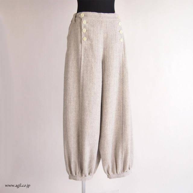 FERAL FLAIR VISIONAIRE (フィラルフレア ヴィジョネア) 裾ギャザーワイドパンツ グレーベージュ|レディース