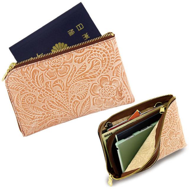 長財布 トラベルウォレット パスポートケース スマートフォン 花柄 型押し 日本製 牛革
