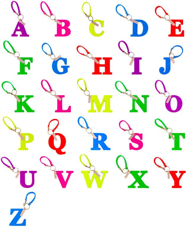 アルファベット キーホルダー ストラップ ポップ ネオンカラー 蛍光色