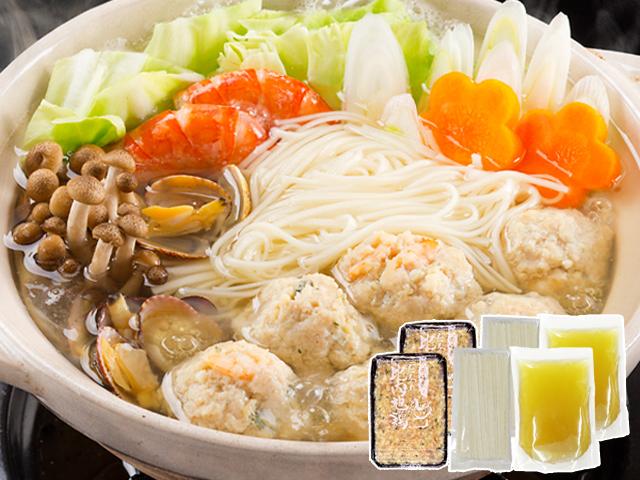 【秋冬限定品】ホクホクぷりぷりのつみれが美味しい!比内地鶏と海老つみれの塩スープ鍋 4人前