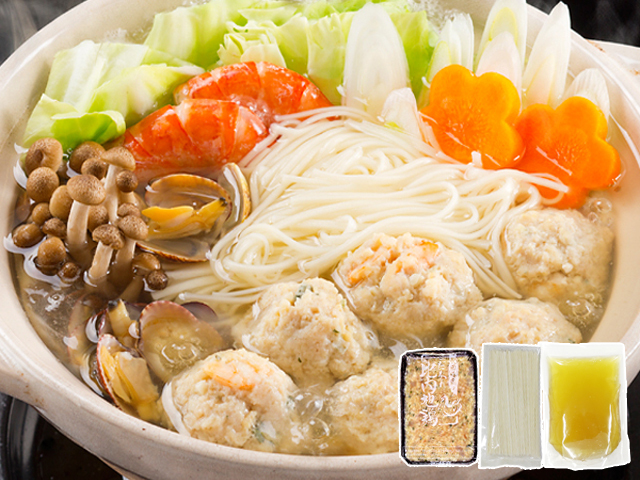 【秋冬限定品】ホクホクぷりぷりのつみれが美味しい!比内地鶏と海老つみれの塩スープ鍋 2人前