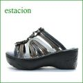 エスタシオン靴  estacion  et122bl ブラック 【厚いソールで歩きましょ。。ふわふわクッションの・・ エスタシオン お花のミュール】