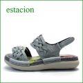 エスタシオン靴  estacion  et690gy グレイ 【可愛いメッシュしましょ。ふわふわクッションの・・ エスタシオン ぺたんこサンダル】
