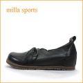 milla sports ミラ mi05bl ブラック 【可愛いフラワーカット・・・楽らくワイズ 巾広4E・・Milla Sports ひもひもスリッポン】