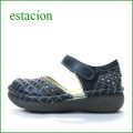 estacion  エスタシオン靴  et43nv ネイビー 【増量ふわふわクッション。。可愛い!ダイヤ模様のパンチング ◇・◇・◇ エスタシオン靴・足首ベルトのセパレート】