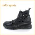 milla ミラ mi1032bl ブラック 【どんどん歩けるラバーソール・・おしゃれなWジッパー・・milla・・穴穴アンクル】