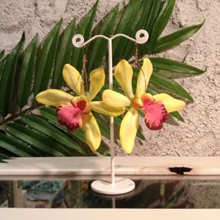 Lei'Awapuhi ke'oke'o Flower collection ピンクオーキッドのピアス・イヤリング