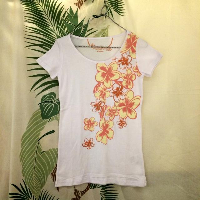 Hulaレッスンに!TシャツフラワーT/Mサイズ・Lサイズ【ハワイアンショップ アロハラバーズ】