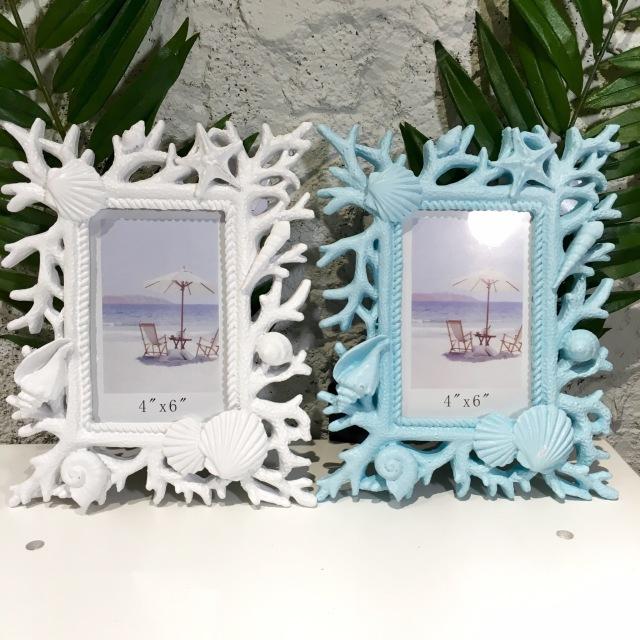 コーラルBL/WH フォトフレーム【ハワイアン雑貨】