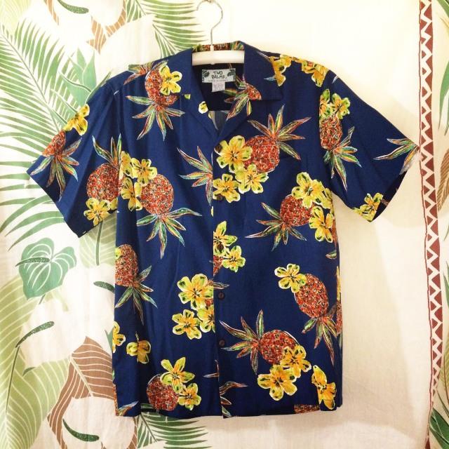 Mensアロハシャツ /パイナップルNVY/Sサイズ