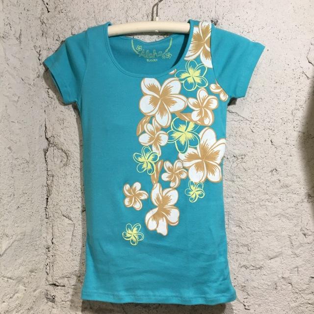 Hulaレッスンに!TシャツフラワーT/Mサイズ・LサイズBL【ハワイアンショップ アロハラバーズ】