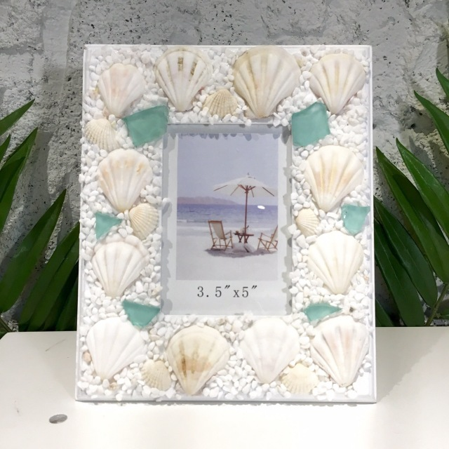 シェルとビーチグラスのフォトフレームLサイズ【ハワイアン雑貨】