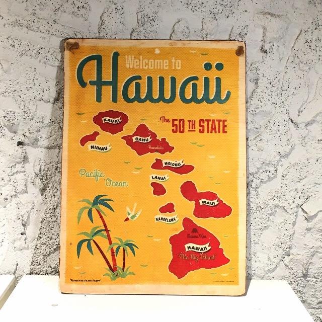 ヴィンテージピクチャー/hawaii map ★【ハワイアンインテリア】