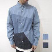 【新着】Cuirs(キュイー)メンズシャツ ダンガリー切り替えコットンシャツ 新作デザイン