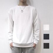 【新着】Cuirs(キュイー)メンズTシャツ オリジナルボートネックパイピングロングTシャツ新作デザイン