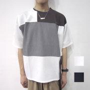 【新着】Cuirs(キュイー)メンズTシャツ  パターン切り替えTシャツ新作デザイン