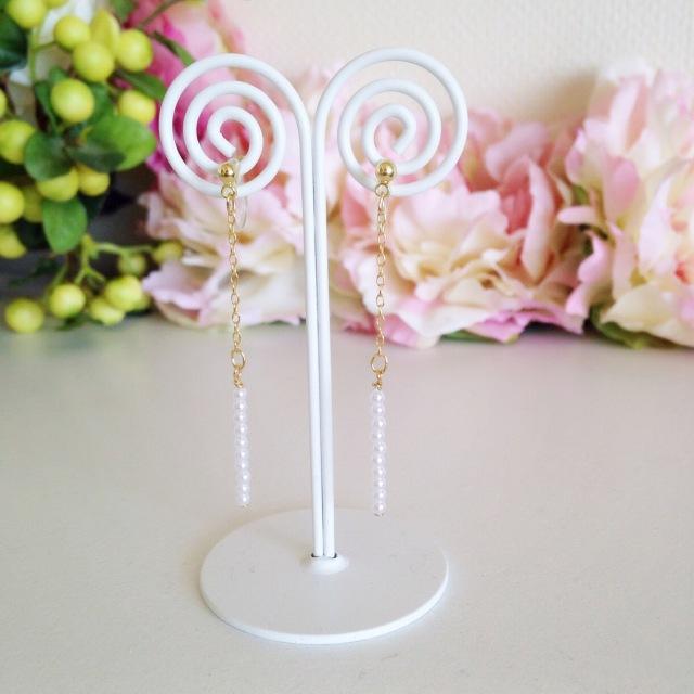 """[再販] Handmade jewelry """"Rittana(リッタナ)"""" ピアスみたいなイヤリング!!スティックスモールパールノンホールピアス/ピアス 定型外発送可"""