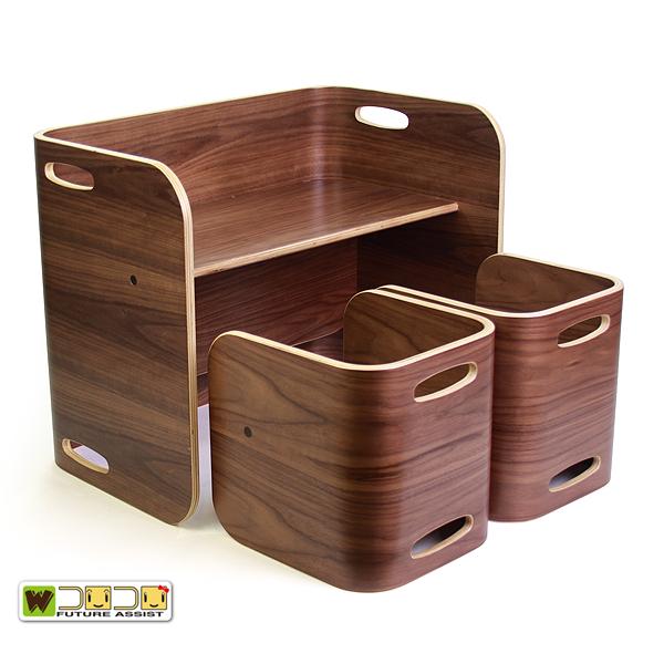 【COLO COLO Chair & Desk】天然木のブナ材を使用したベビー用の椅子と子供机 3点セット color:ブラックウォールナット