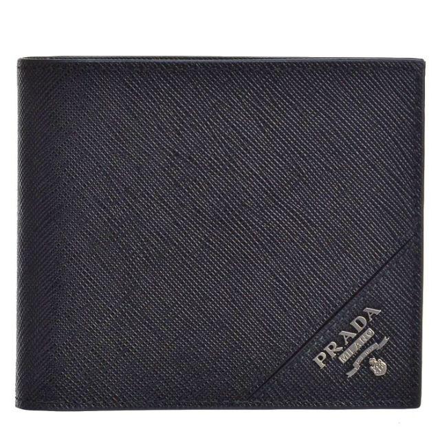 プラダ PRADA サイフ さいふ メンズ 二つ折り財布 型押しカーフスキン  2MO738 QME 216