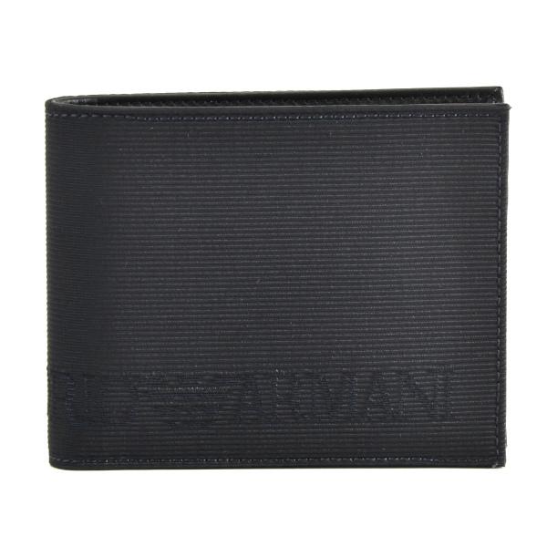 エンポリオ アルマーニ EMPORIO ARMANI カーフスキン×コットン メンズ 二つ折り財布 YEM122 YN53K 87369