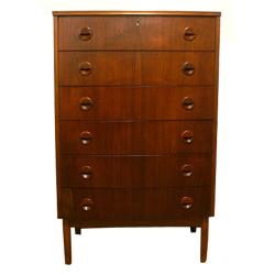 ft0177デンマークの木製6段ハイチェスト 【amber design】北欧家具やビンテージ雑貨等インテリアの通販