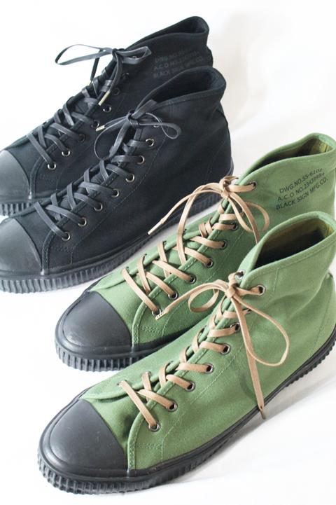 BLACK SIGN/ブラックサイン   「BS Military Footwear」  ヴィンテージキャンバスハイカットスニーカー