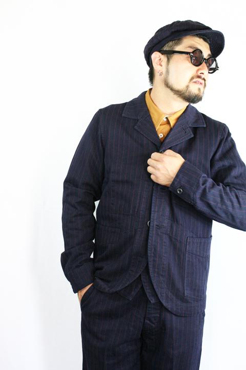TROPHY CLOTHING/トロフィークロージング   「Modern Times Jacket」   インディゴヘリンボーンストライプジャケット
