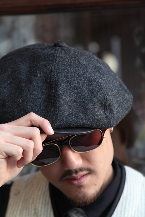"GANGSTERVILLE/ギャングスタービル    「CLASSIC PARLOR - CASQUETTE""COWHIDE""」   レザーコンビキャスケット"