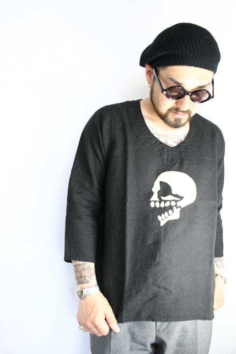BLACK SIGN/ブラックサイン 「Modifed US Chambray Pull Over Shirt with Skull」  シャンブレープルオーバーシャツ