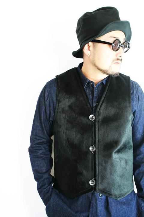 BLACK SIGN/ブラックサイン  「Cow Hair Dene Vest」   ハラコリバーシブルベスト