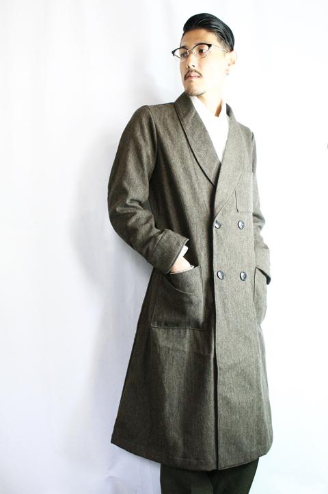 BLACK SIGN/ブラックサイン  「Antique Serge Shawl Collar Coat」  ショールカラーコート