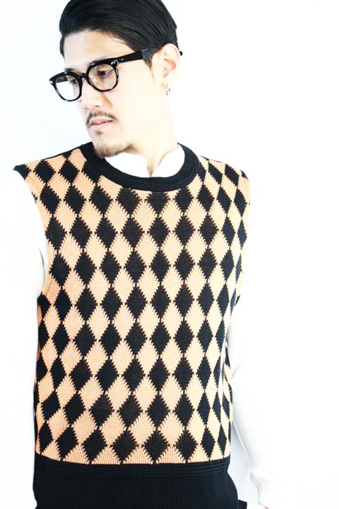 BLACK SIGN/ブラックサイン  「Rhombus Check Knit Vest」   ニットベスト