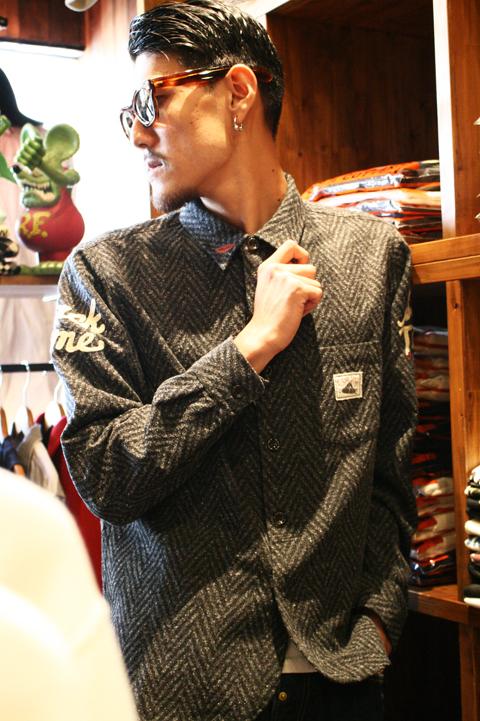 GANGSTERVILLE/ギャングスタービル   「SACK TIME - L/S SHIRTS」  ヘリンボーンシャツ
