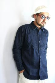 BLACK SIGN/�֥�å������� ����8oz Indigo Denim Deita Shirt��  ������ǥ����ǥ˥ॷ���