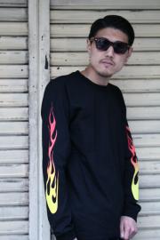 AW ORIGINAL/アメリカンワナビーオリジナル  「FLAME L/S T-SHIRT」 フレイムプリントティーシャツ
