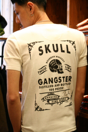 GANGSTERVILLE/ギャングスタービル  「LUCKY BOURBON - S/S HENRY T-SHIRTS」  ヘンリーネックプリントカットソー