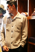GANGSTERVILLE/ギャングスタービル   「HOUNDSTOOTH - LONG SLEEVE SHIRTS」  千鳥柄ツイードシャツ BLK/GRY