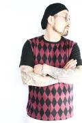 BLACK SIGN/ブラックサイン  「Diamond Panel Knit T-shirts」  アーガイル柄カットソー