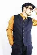 TROPHY CLOTHING/トロフィークロージング  「Modern Times Waist Coat」  インディゴヘリンボーンストライプベスト