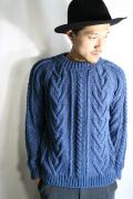 TROPHY CLOTHING/トロフィークロージング  「Indigo Fisherman Hand Knit」 コットンフィッシャーマンニット