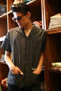 GANGSTERVILLE/ギャングスタービル   「CUBA - SHIRTS」  マルチストライプキューバシャツ BLK/WHT
