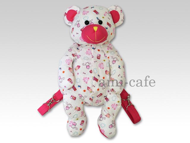 NaRaYa(ナラヤ) クマ型リュック クマと女の子柄 ピンク