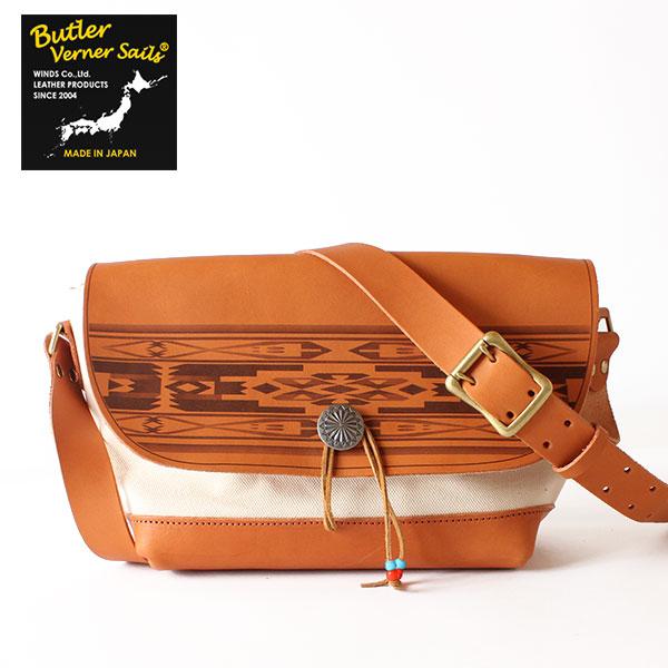 【即納】【送料無料】Butler Verner Sails フラップショルダーバッグ 本革 レザー ヌメ革×4号キャンバス×コンチョボタン バトラーバーナーセイルズ 鞄
