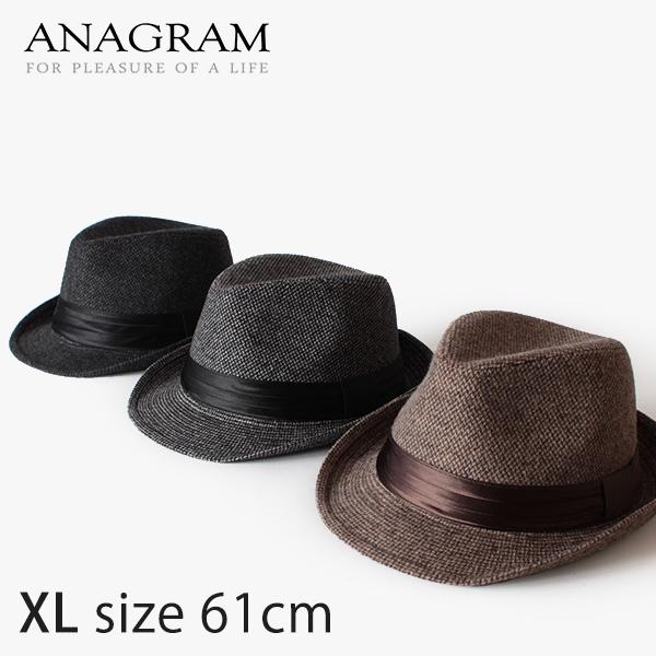 【即納】ANAGRAM アナグラム ツイードハット 中折れハット 大きいサイズ 帽子 XL61cm