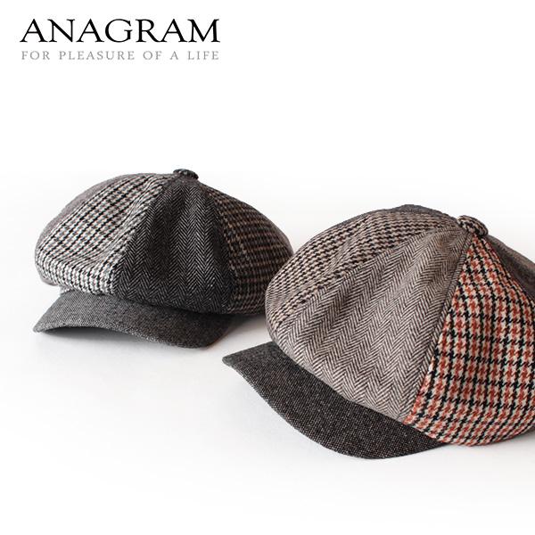 【即納】ANAGRAM アナグラム ツイードキャスケット ニュースキャップ 帽子