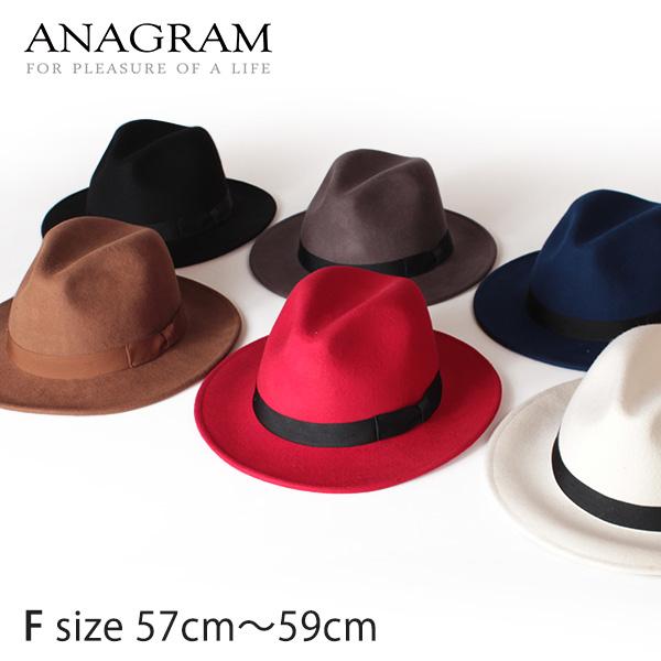 翌日配達 セール【即納】ANAGRAM アナグラム つば広帽子 ウールフェルトハット 中折れハット 羽根付き帽子