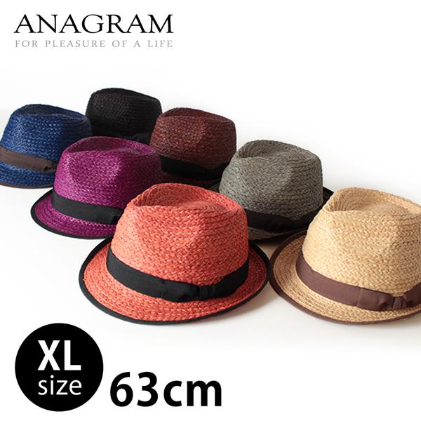 セール【即納】ANAGRAM アナグラム ラフィアハット 麦わらハット 麦わら帽子 中折れハット 大きいサイズ 帽子 UV対策 UVカット帽子 紫外線対策